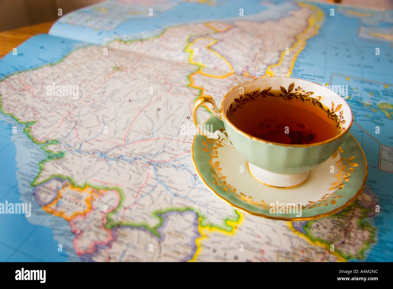 Map with a cup of tea - Stock Image