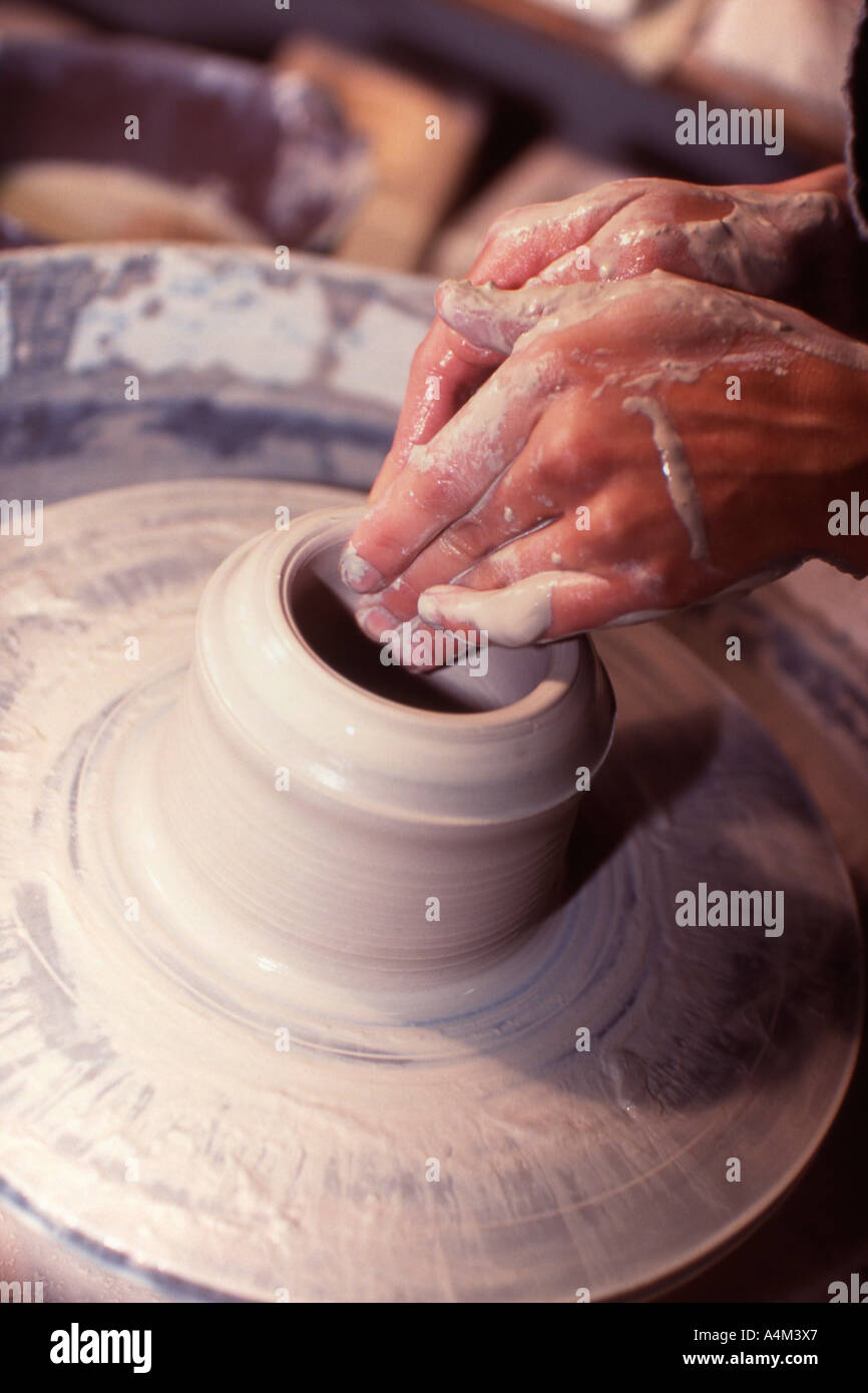 Pottery wheel at work - Stock Image