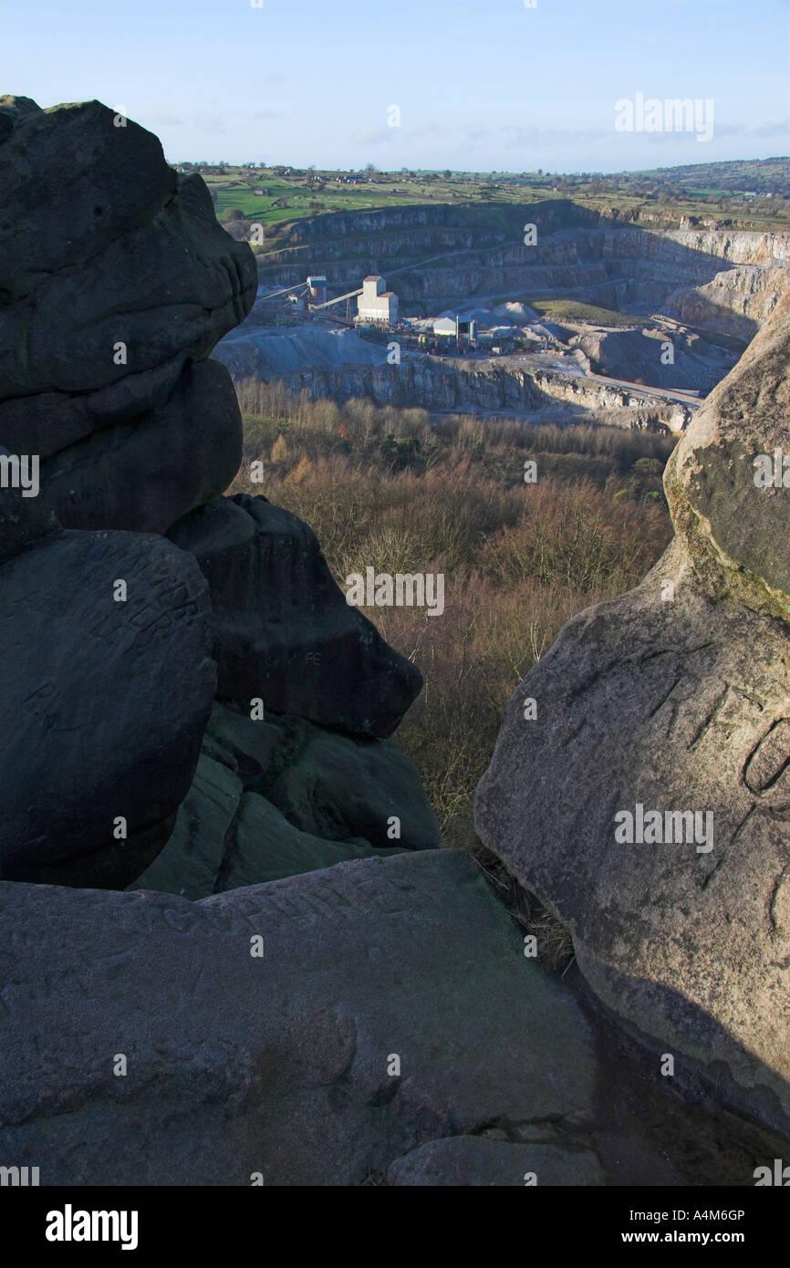 Middlepeak limestone quarry from Black Rock, Wirksworth, Peak District, Derbyshire, England - Stock Image