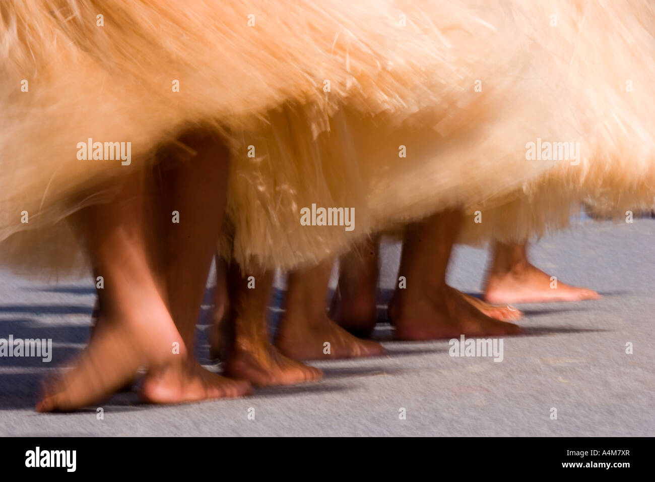 Stock photo of bare footed Hula dancers in grass skirts - Stock Image