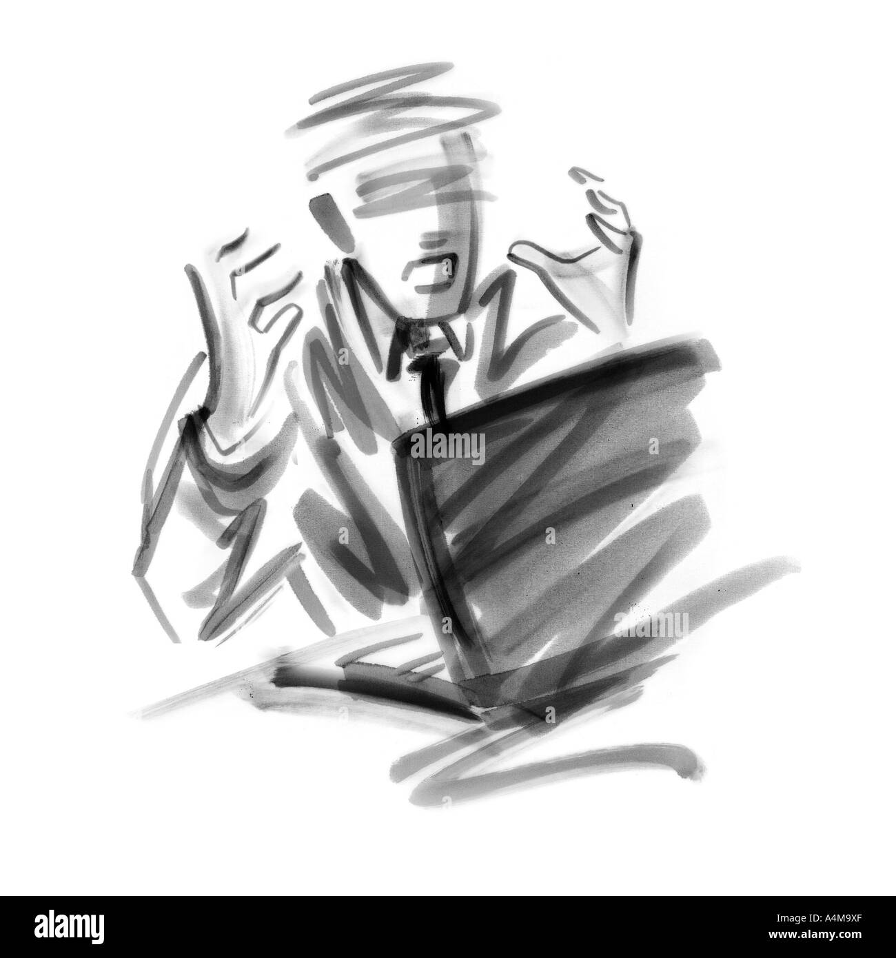 Businessman making stressful gesture - Stock Image