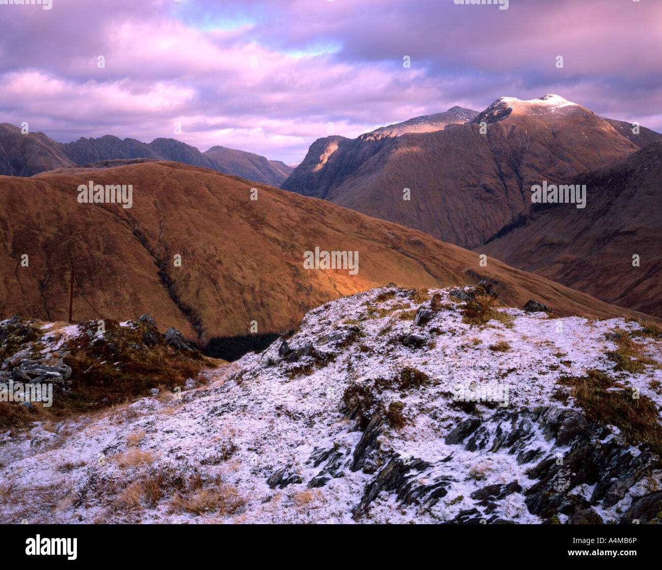 The mountains of Glencoe viewed from the summit of Sgorr a Choise Stock Photo