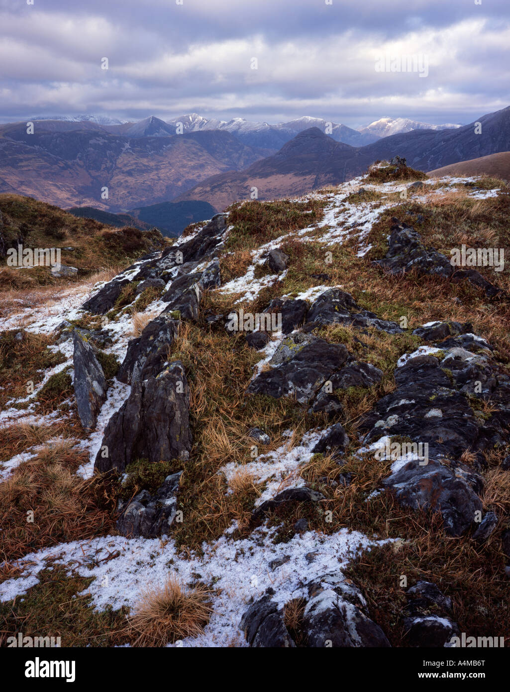 The Mamores and Pap of Glencoe viewed from Sgorr a Choise - Stock Image