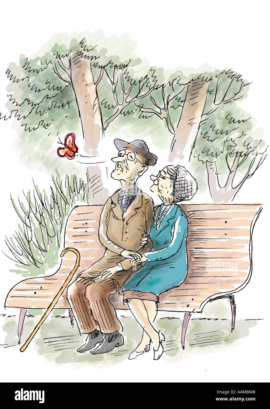 Elderly couple sitting on bench watching butterfly - Stock Image