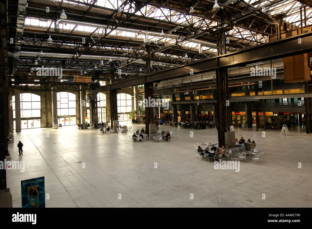 The interior of the Puls 5 centre a former steel foundry in the culturally transformed area of West Zürich. - Stock Image