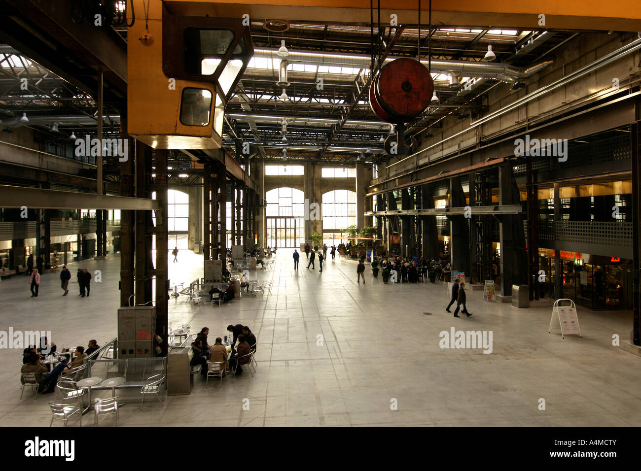 The interior of the Puls 5 centre, a former steel foundry in the culturally transformed area of West Zürich. - Stock Image