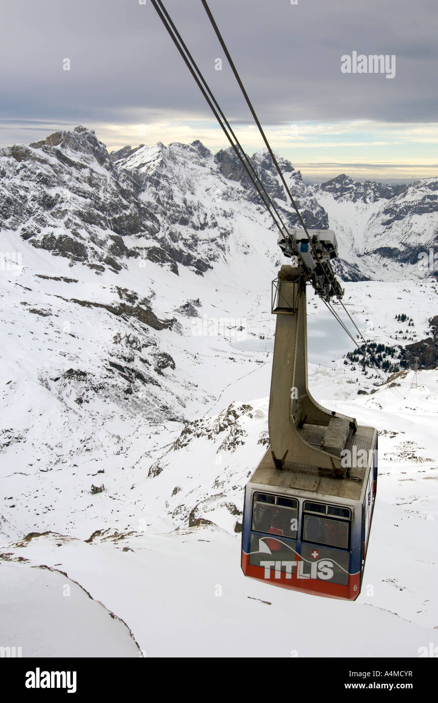 View of the Alps from the cable car on Mount Titlis in Switzerland. Stock Photo