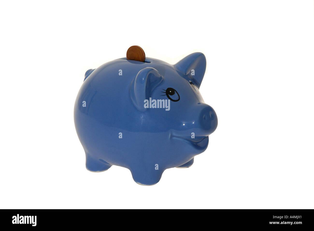 Sparschwein Cent Eurocent Geld Hartgeld Kleingeld sparen blau - Stock Image