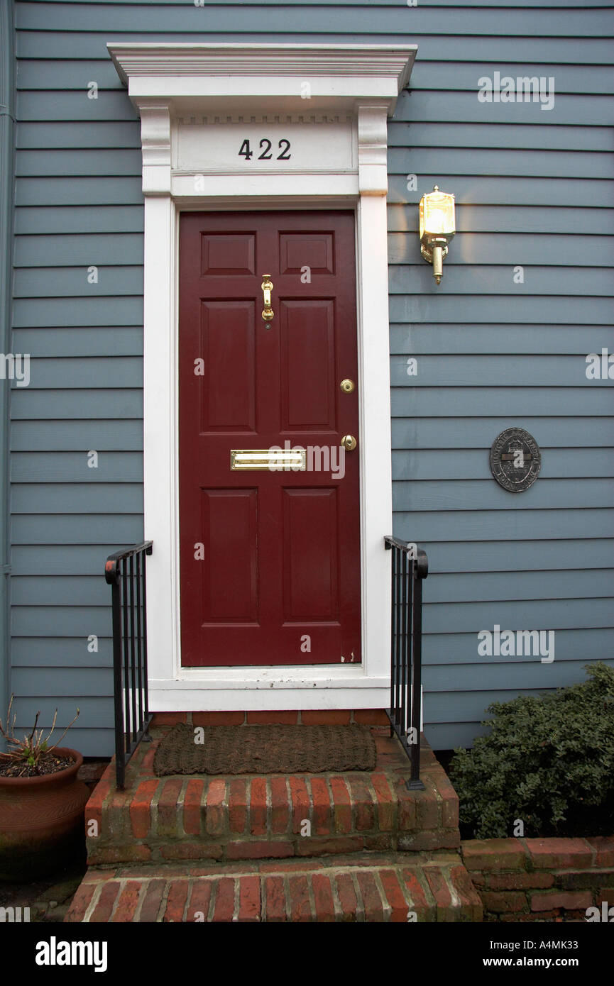 Red Entry Door Of A Historic Home In Old Town Alexandria VA USA