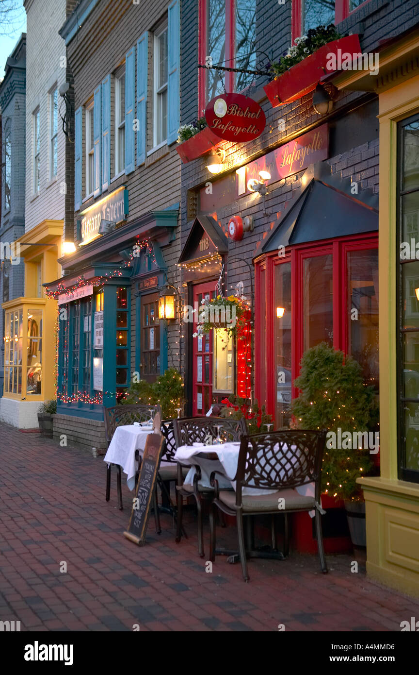 Restaurants On King Street In Old Town Alexandria Virginia Usa Stock