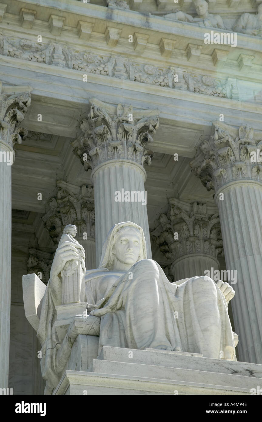 Contemplation of Justice marble statue at the Supreme Court Building Washington DC USA - Stock Image