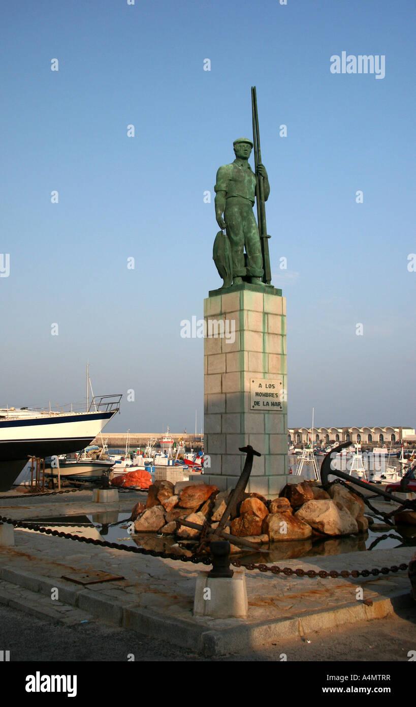 Tarifa, Monument to the men of the sea (A los Hombres de la Mar) at Tarifa Habor - Stock Image