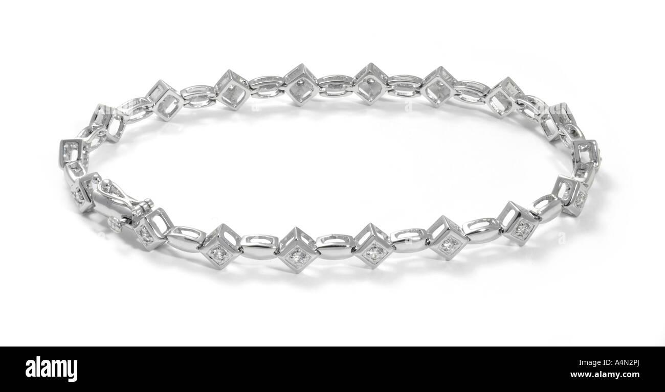 Diamond set white gold bracelet - Stock Image