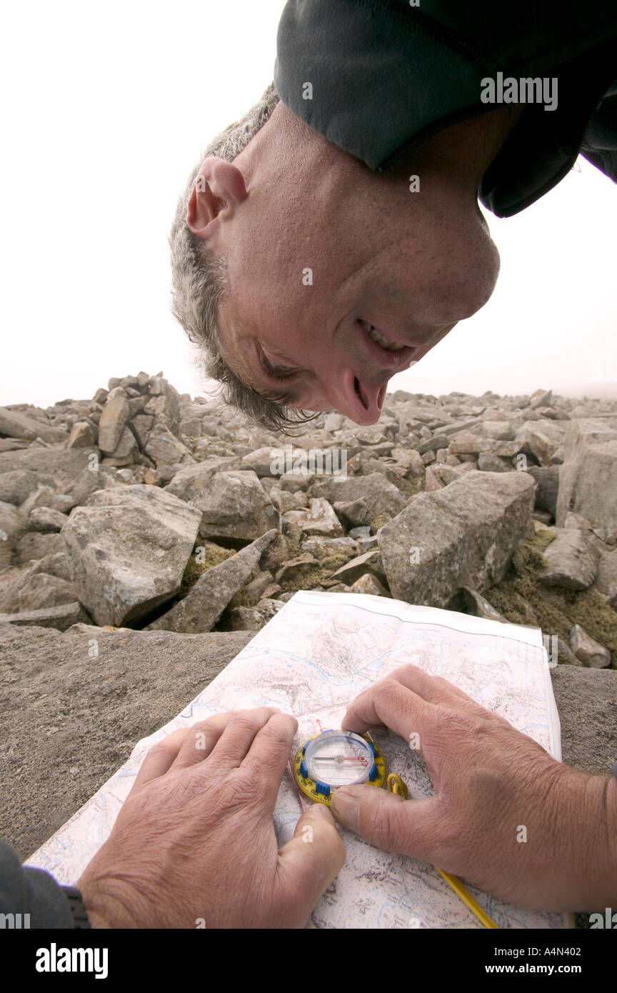 map reading with map and compass - Stock Image