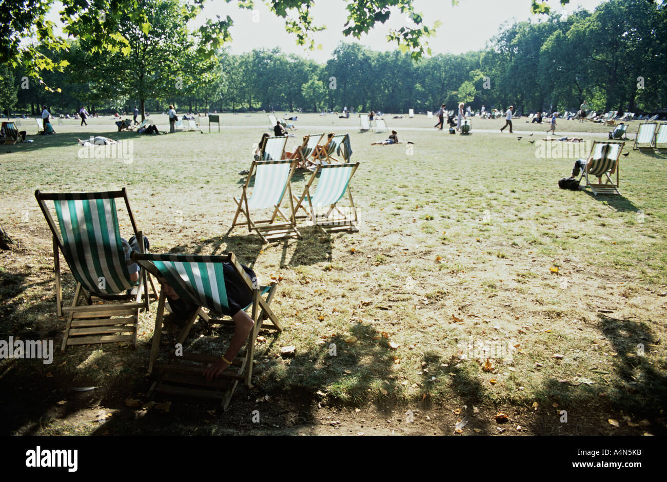 Hot summer's day in Green Park, Westminster, London, UK - Stock Image