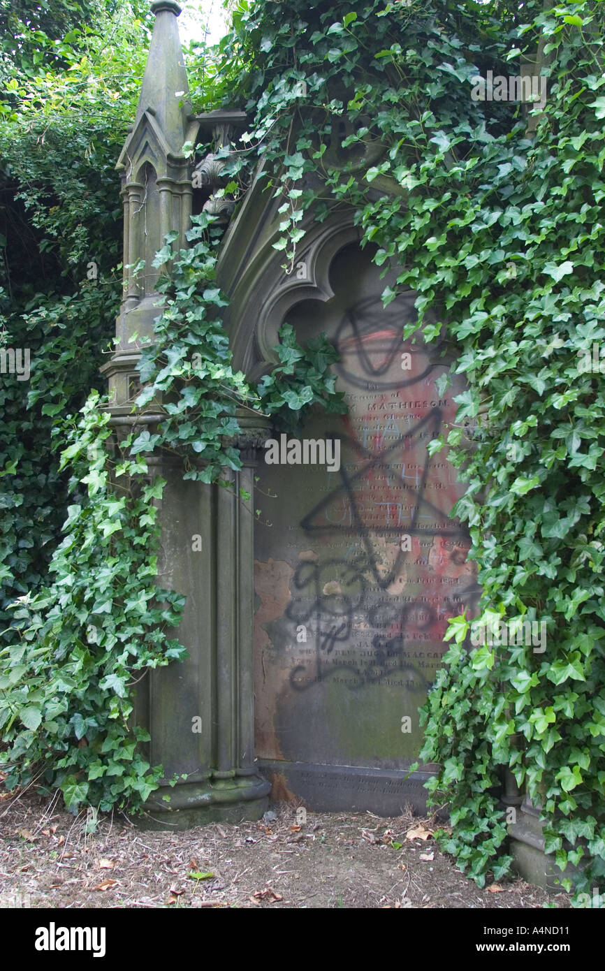 Defaced tomb in The Necropolis Cemetery Glasgow Cathedral Scotland GB UK - Stock Image