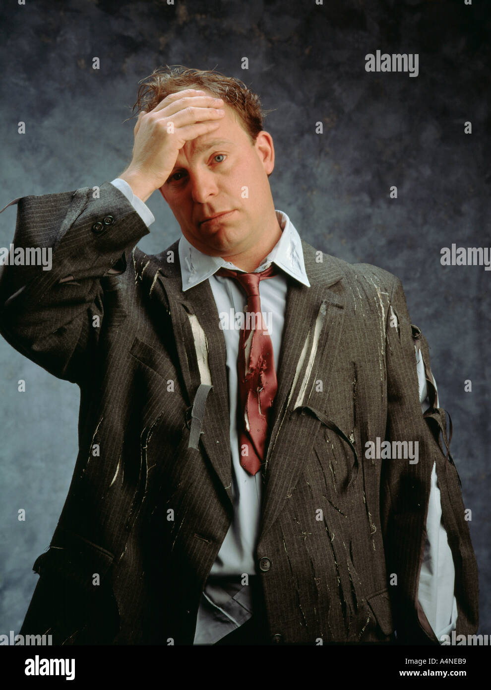 Technology Management Image: Businessman Ripped Clothes Holding Hand Stock Photos
