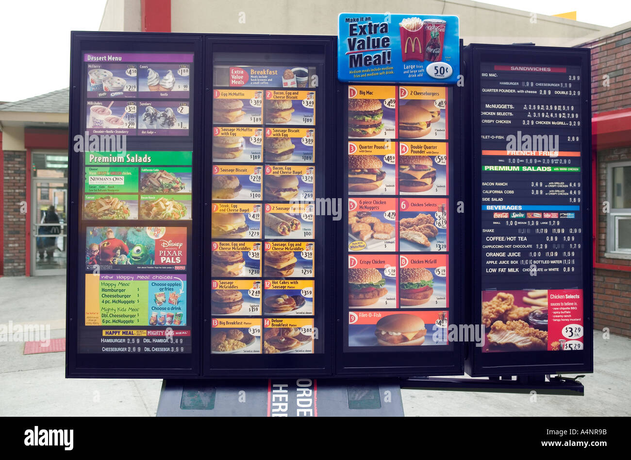 Menu display of a drive in and walk up McDonald s fast food restaurant USA April 2005 - Stock Image