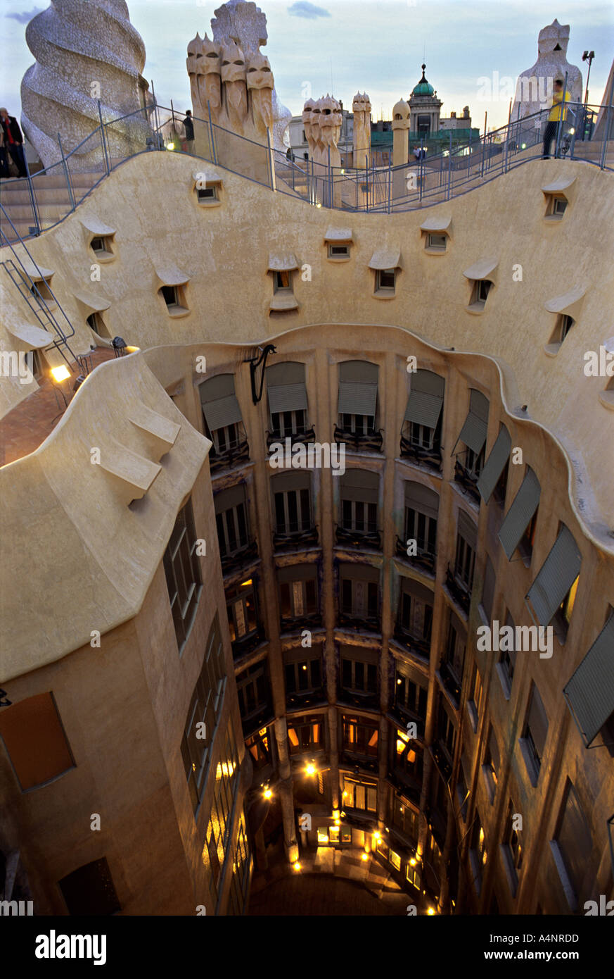 antoni gaudi casa mila la pedrera barcelona spain roofline and stock photo 3621852 alamy. Black Bedroom Furniture Sets. Home Design Ideas