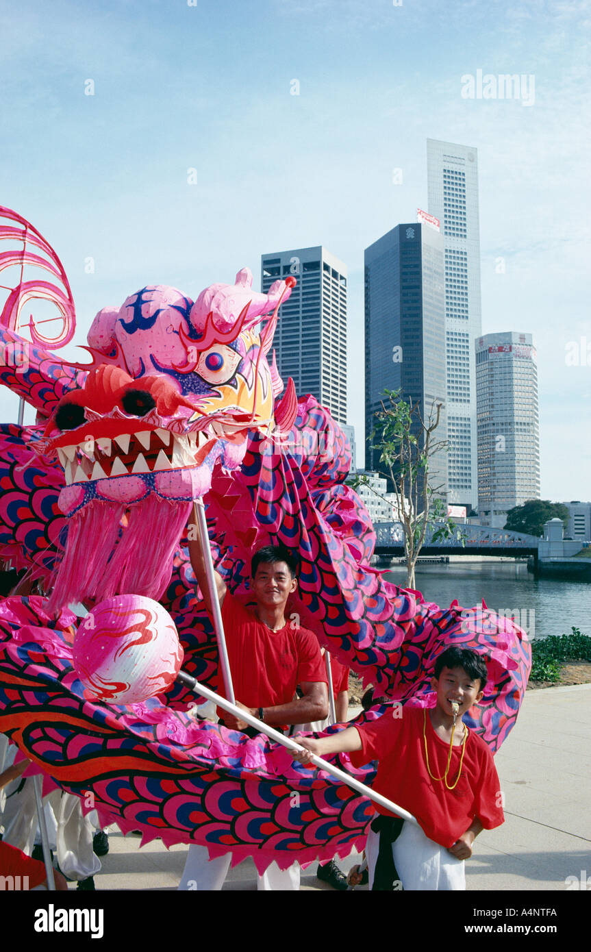 Chinese dragon dancers Singapore National Day Singapore Southeast Asia Asia - Stock Image