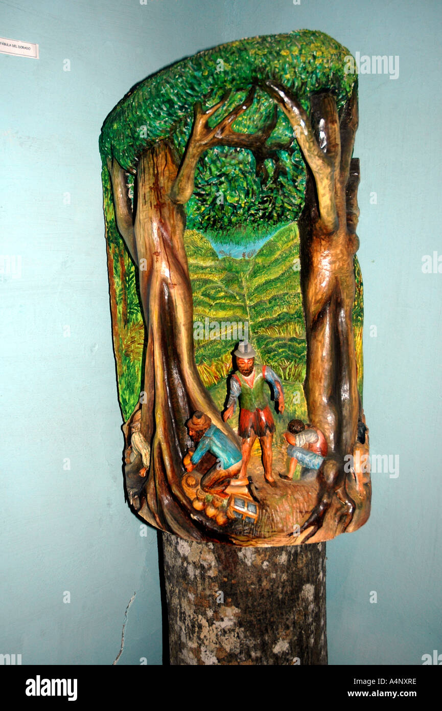 A carving of the Fable of El Dorado by Venezuelan Guilhermo Torres who lives in the Andes village of Jají above Mérida - Stock Image