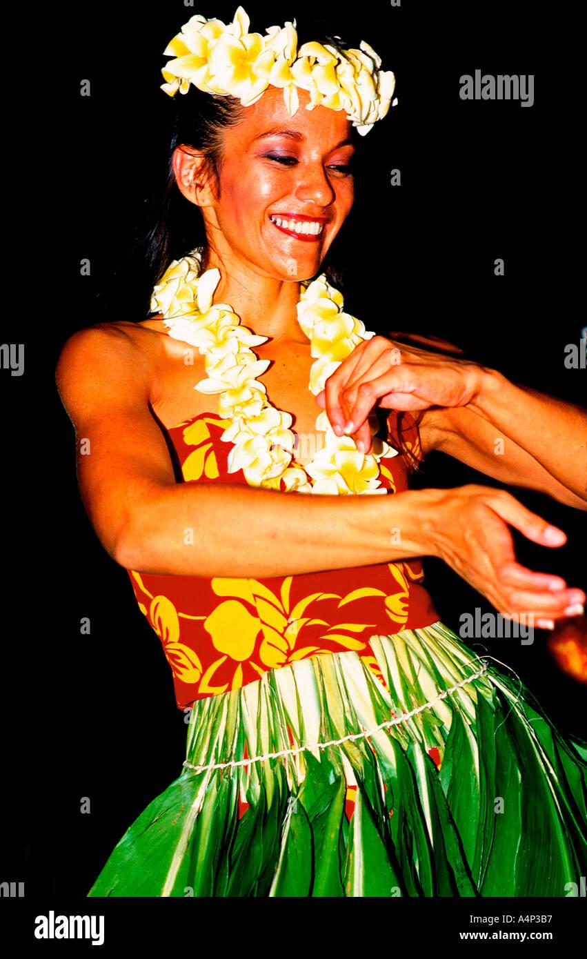 Dancer at hula show Honolulu Hawaii USA - Stock Image