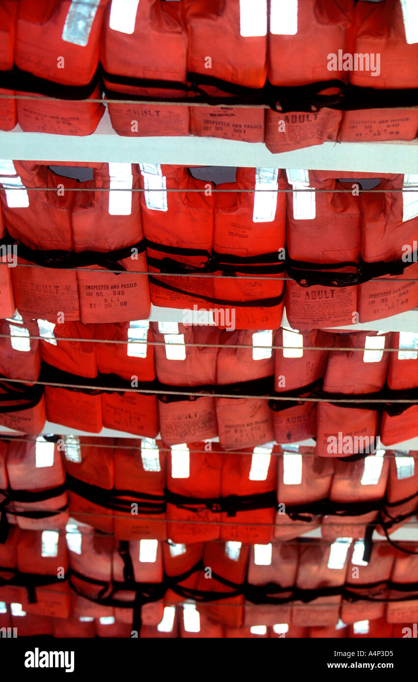 Lifejackets on Natchez refurbished old time Mississippi riverboat New Orleans Louisiana Stock Photo