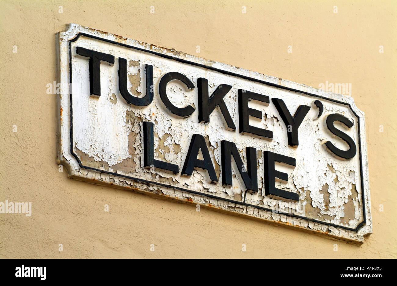 tuckey's lane street sign gibraltar - Stock Image