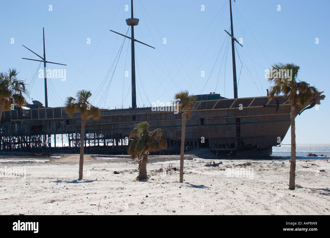 Treasure Bay Casino Destroyed And Beached By Hurricane Katrina In