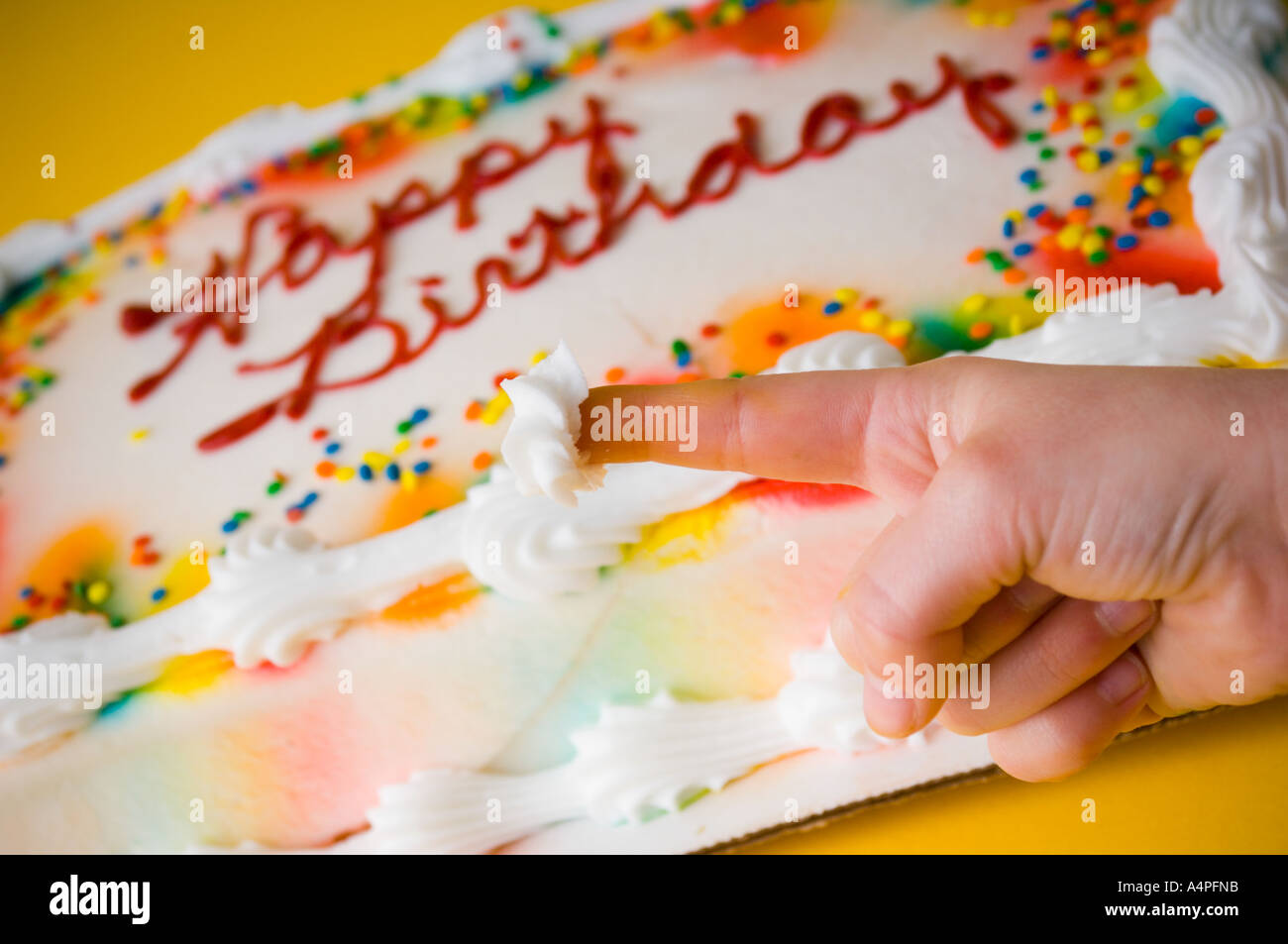 Cool Child Dipping Finger In Birthday Cake Icing Stock Photo 6343066 Personalised Birthday Cards Bromeletsinfo