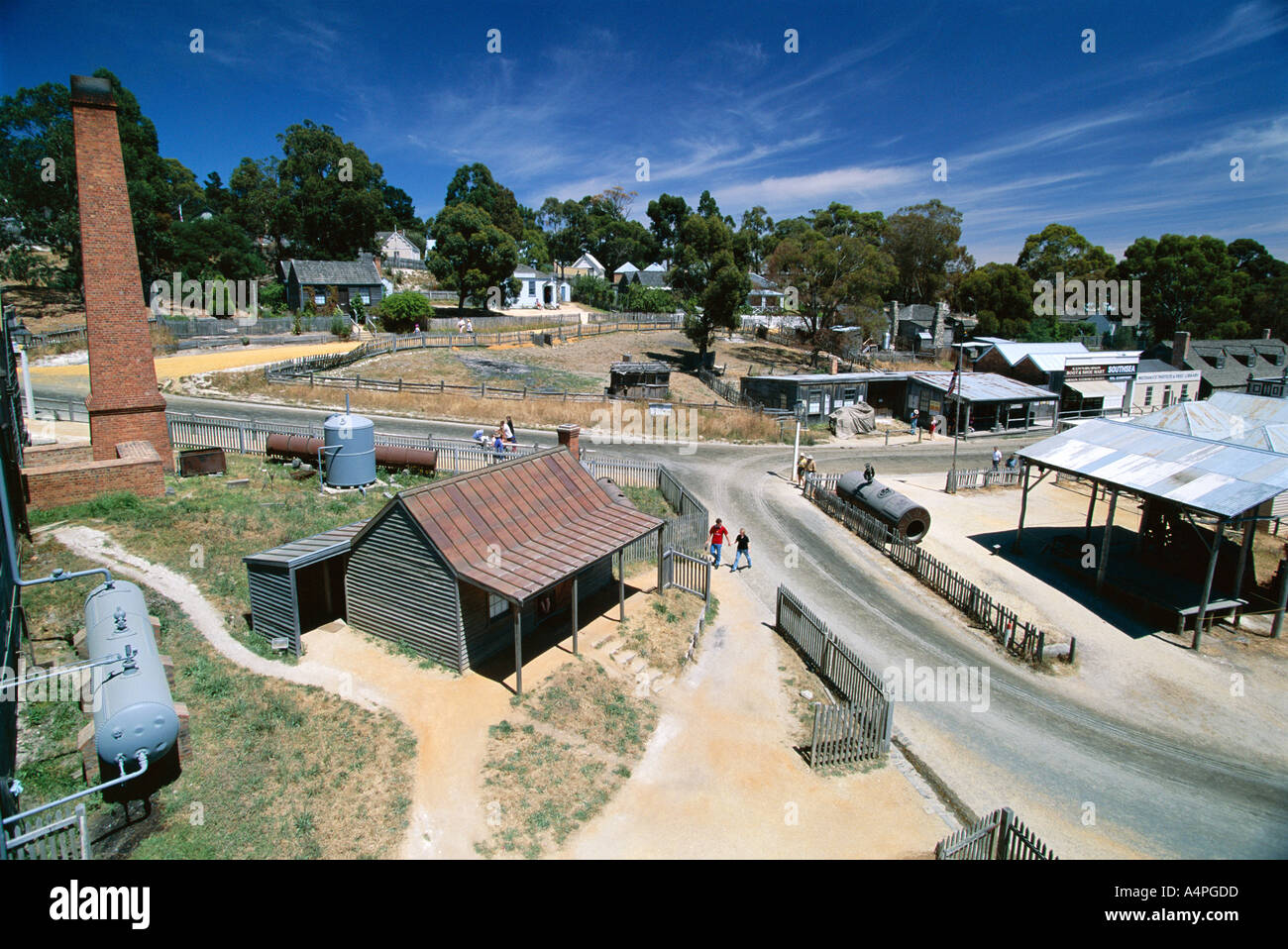 Sovereign Hill re creation of an 1860s gold mining township near Ballarat west of Melbourne Victoria Australia Pacific - Stock Image