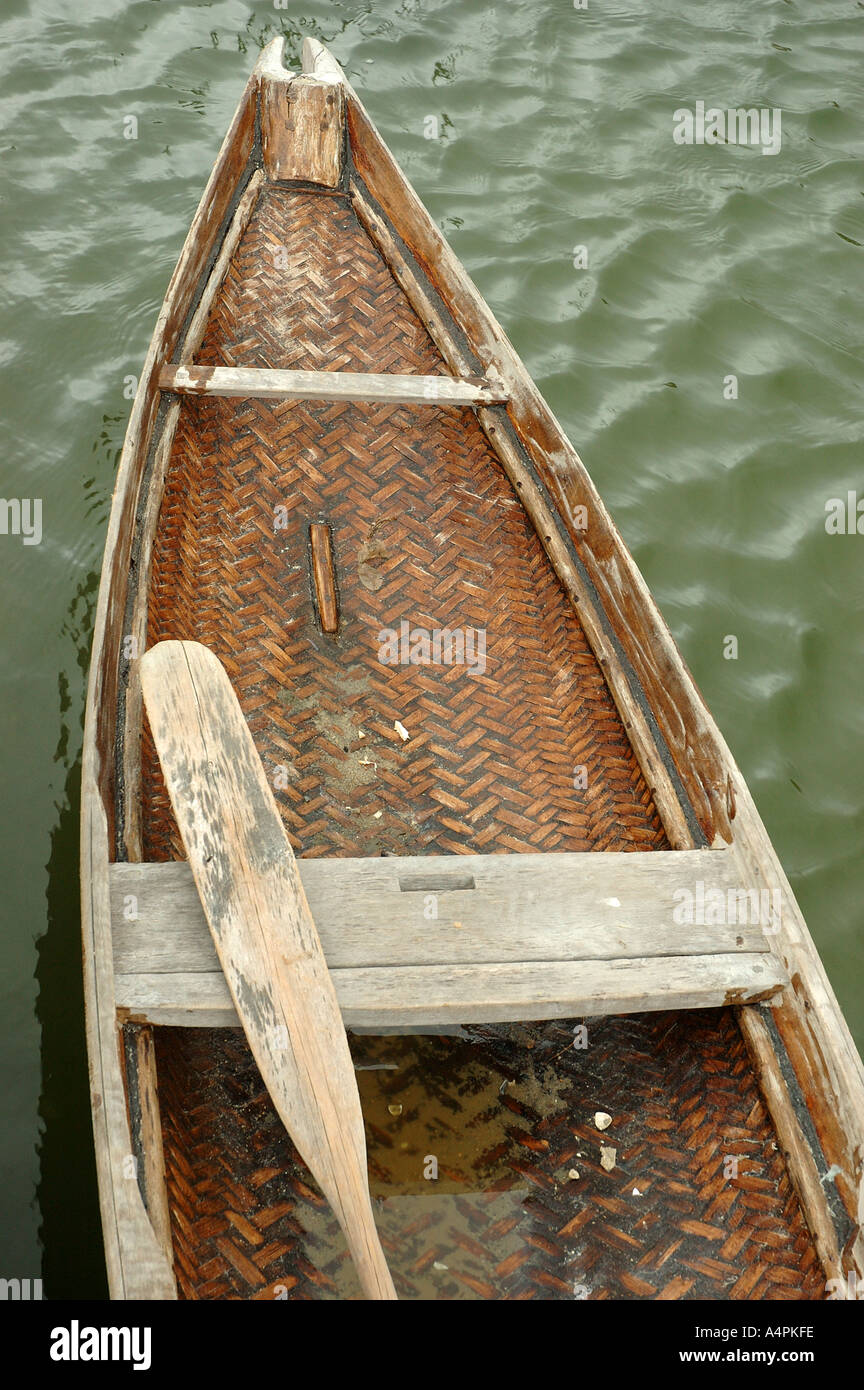 Small woven bamboo boat central Vietnam South East Asia Asian orient  oriental
