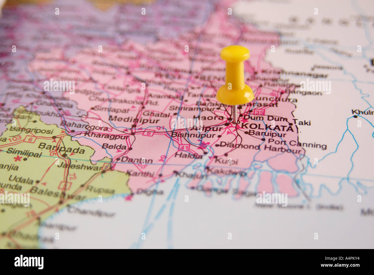 ANG77817 Map of India spotted Calcutta now Kolkata Capital of West
