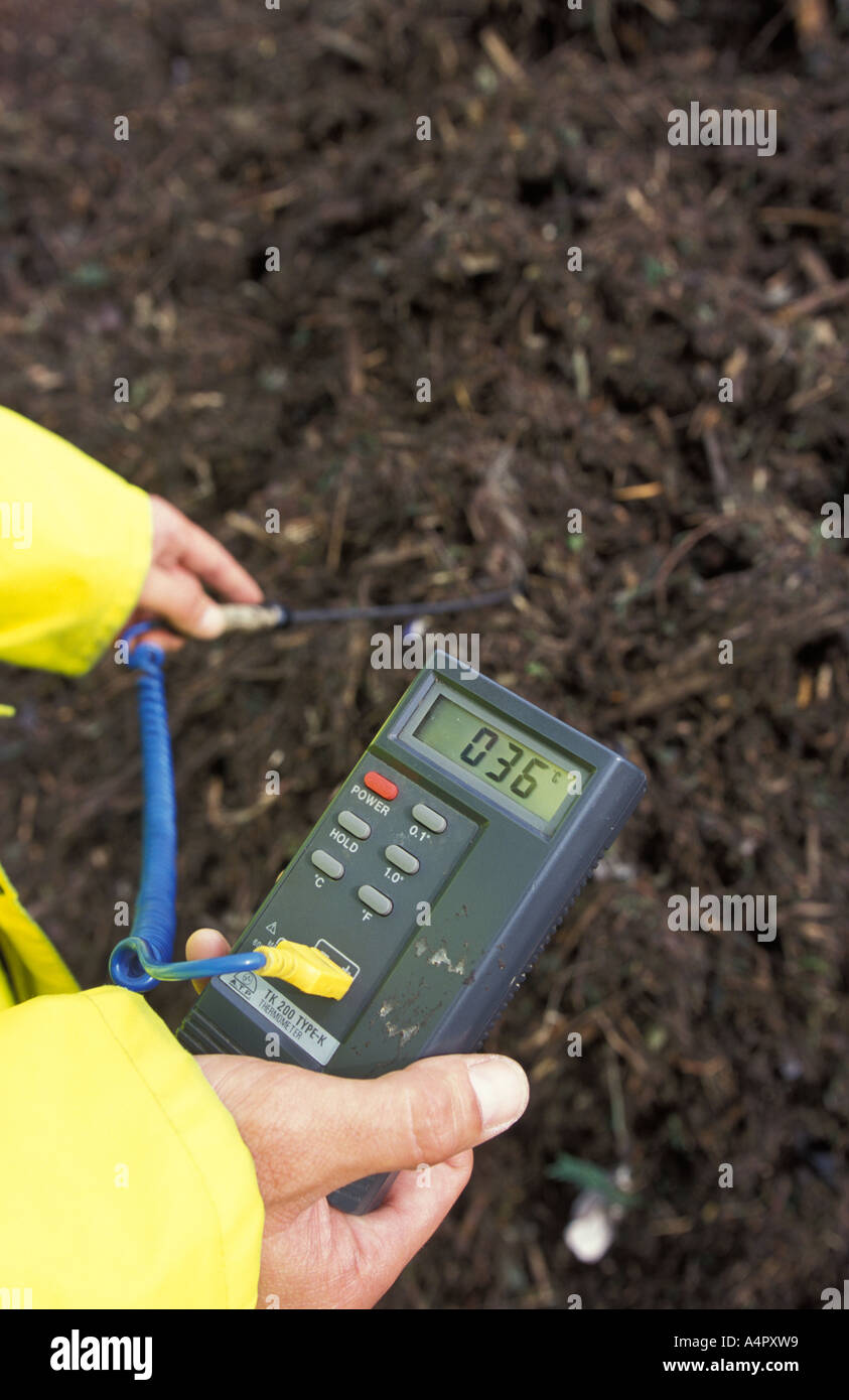 checking the temperature of composted green waste - Stock Image