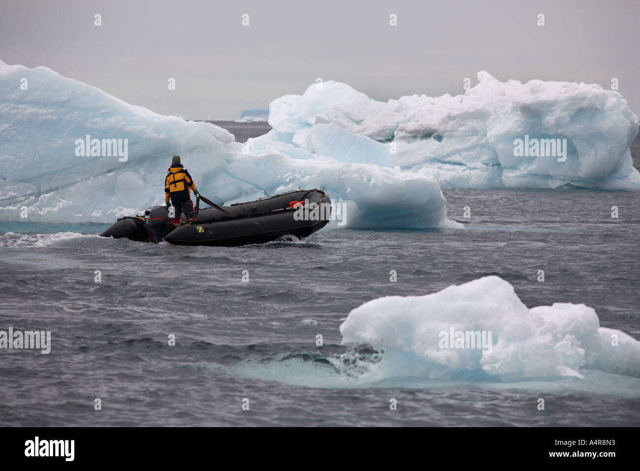 Zodiac navigates though icebergs in the Lamaire Channel in Antarctica - Stock Image