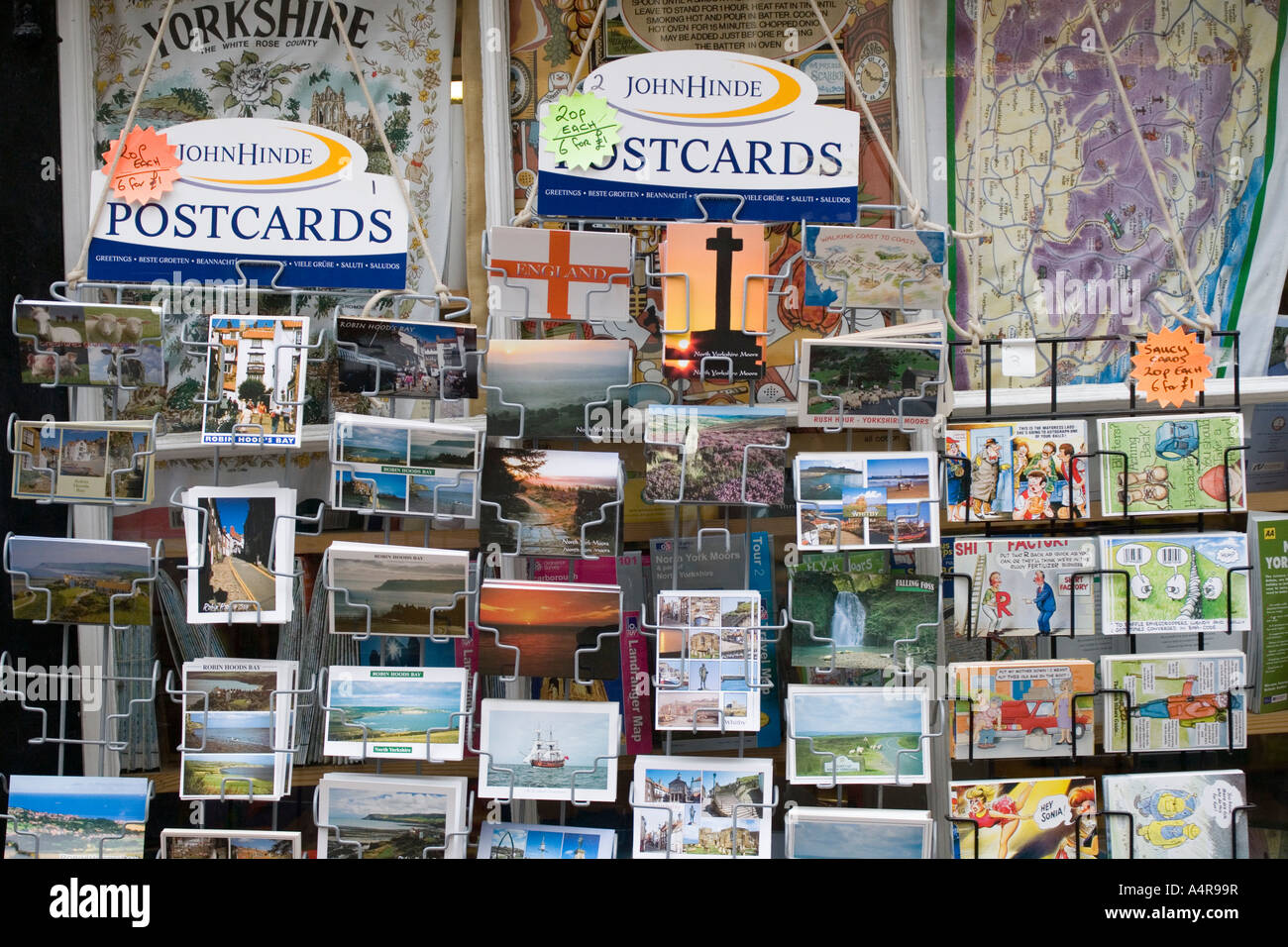 Shop selling picture postcards at Robin Hood s Bay North Yorkshire England UK - Stock Image