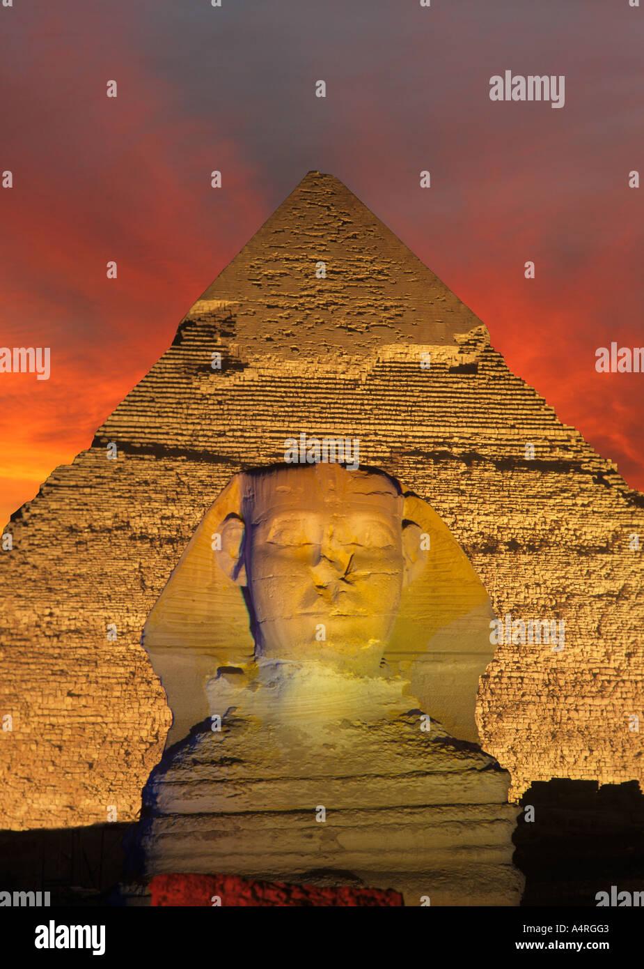 Pyramid and Sphinx at night ,Giza, Cairo , Egypt. - Stock Image