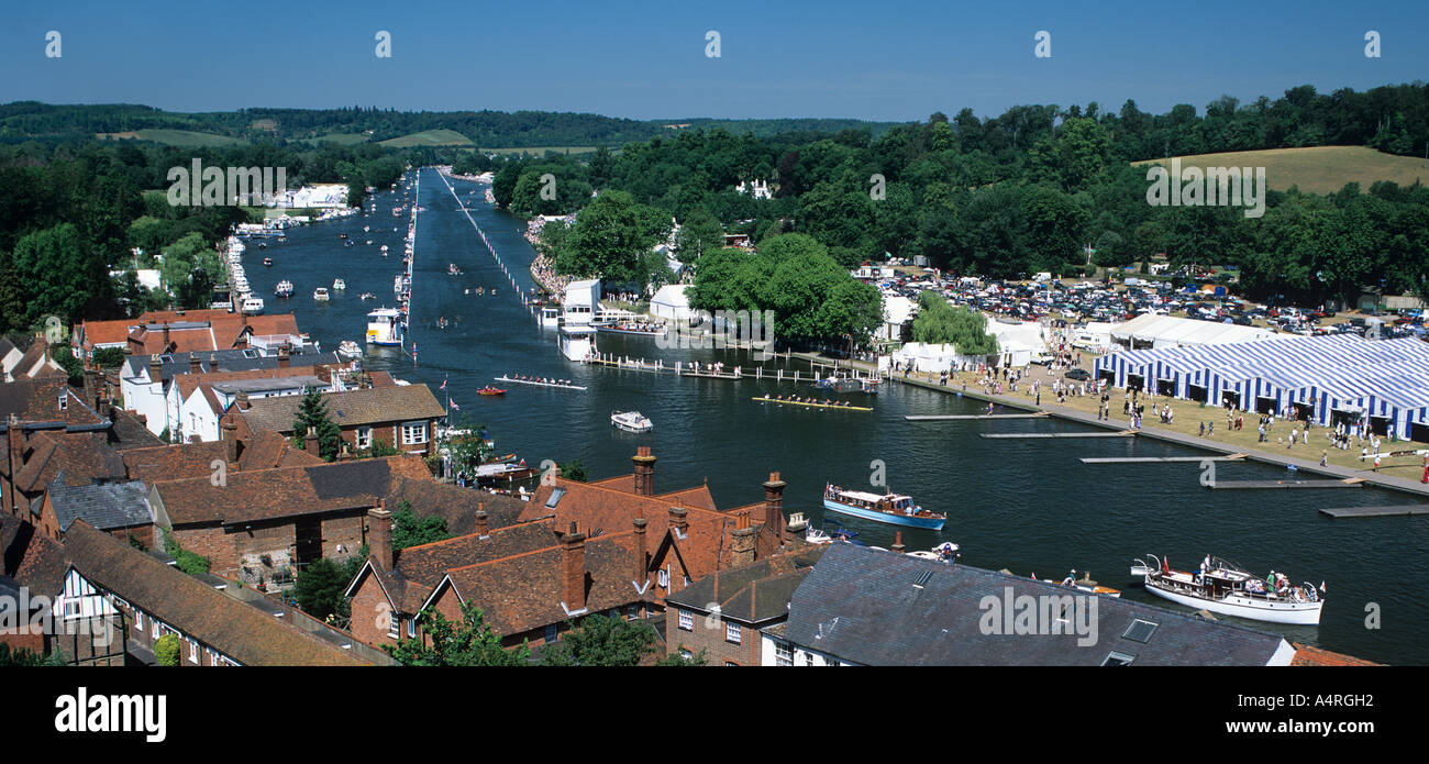 Panoramic view of Henley-on-Thames Royal regatta, England. Stock Photo