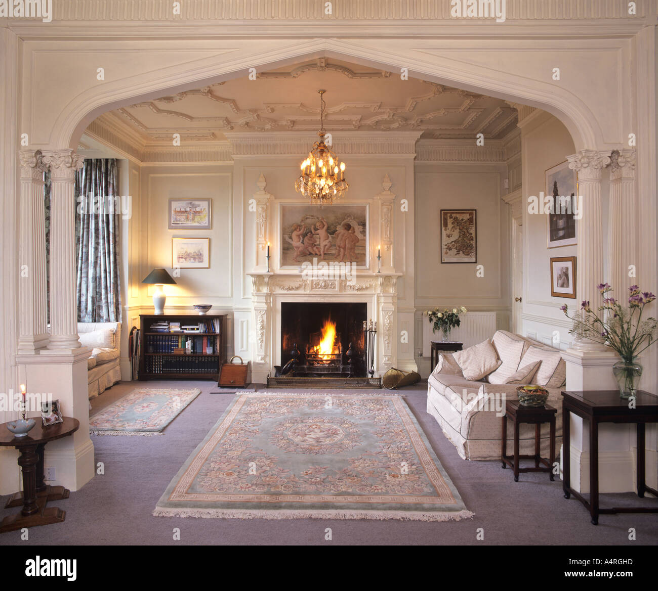 Drawing Room Interior, Country House, England.   Stock Image