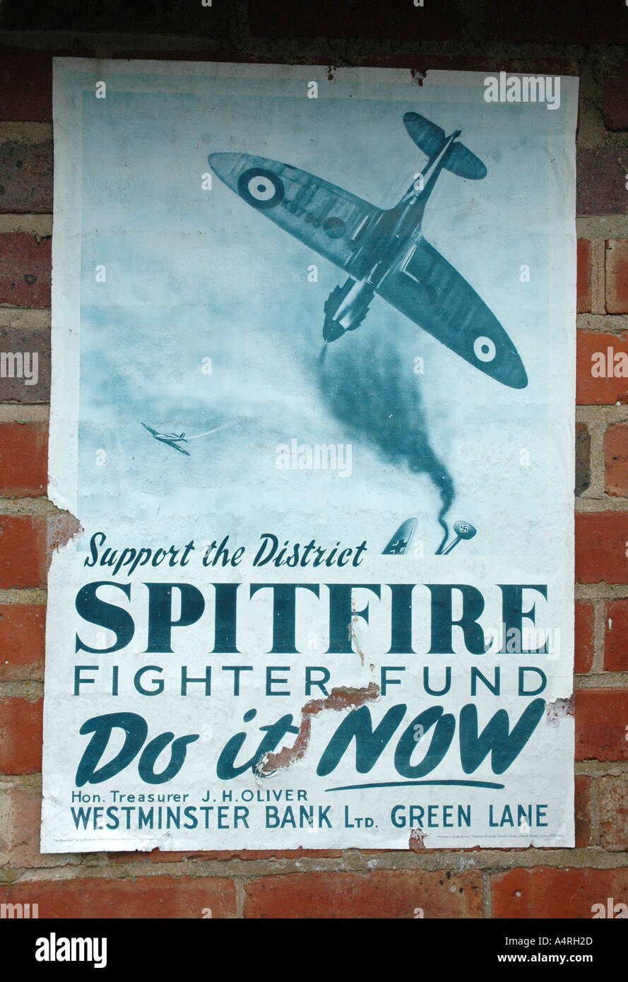 Spitfire Fighter Fund poster that was on display in WWII - Stock Image