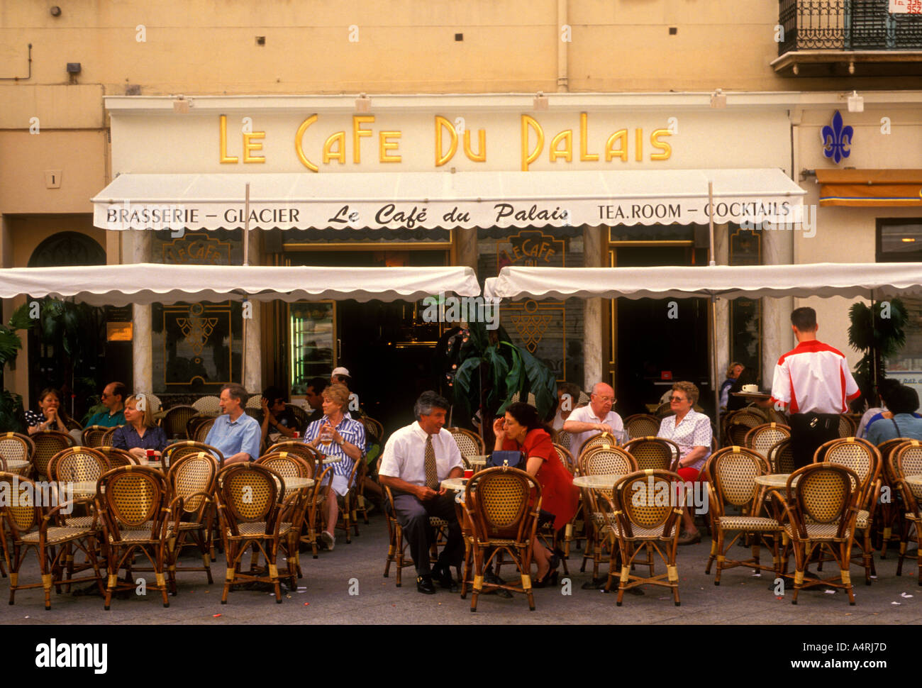 French People Tourists Eating Dining Le Cafe Du Palais Restaurant Food And Drink Place Nice Cote DAzur France