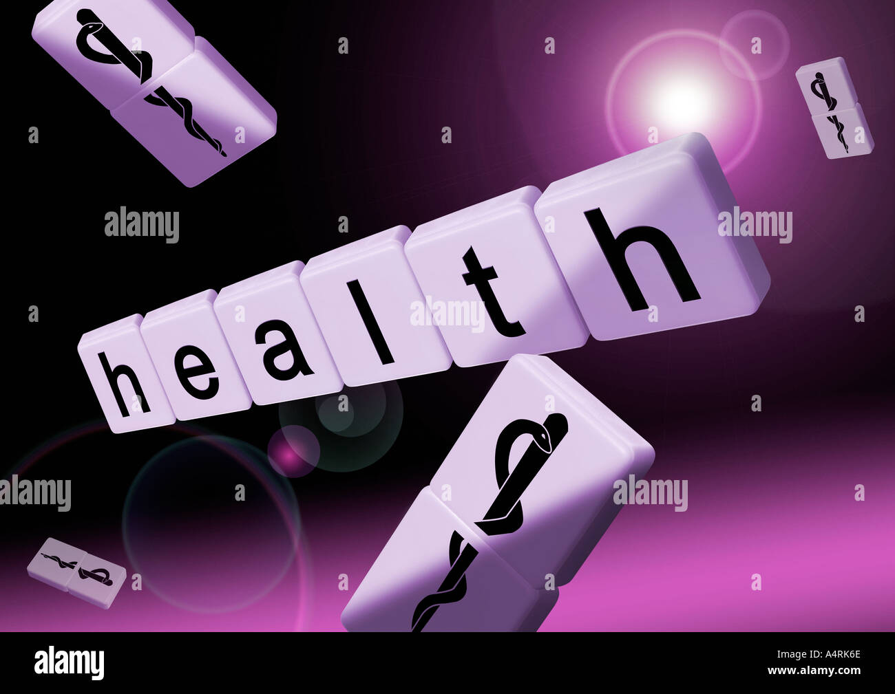Schriftzug health mit Aesculapstab health in letters and aesculap staff with snake Stock Photo
