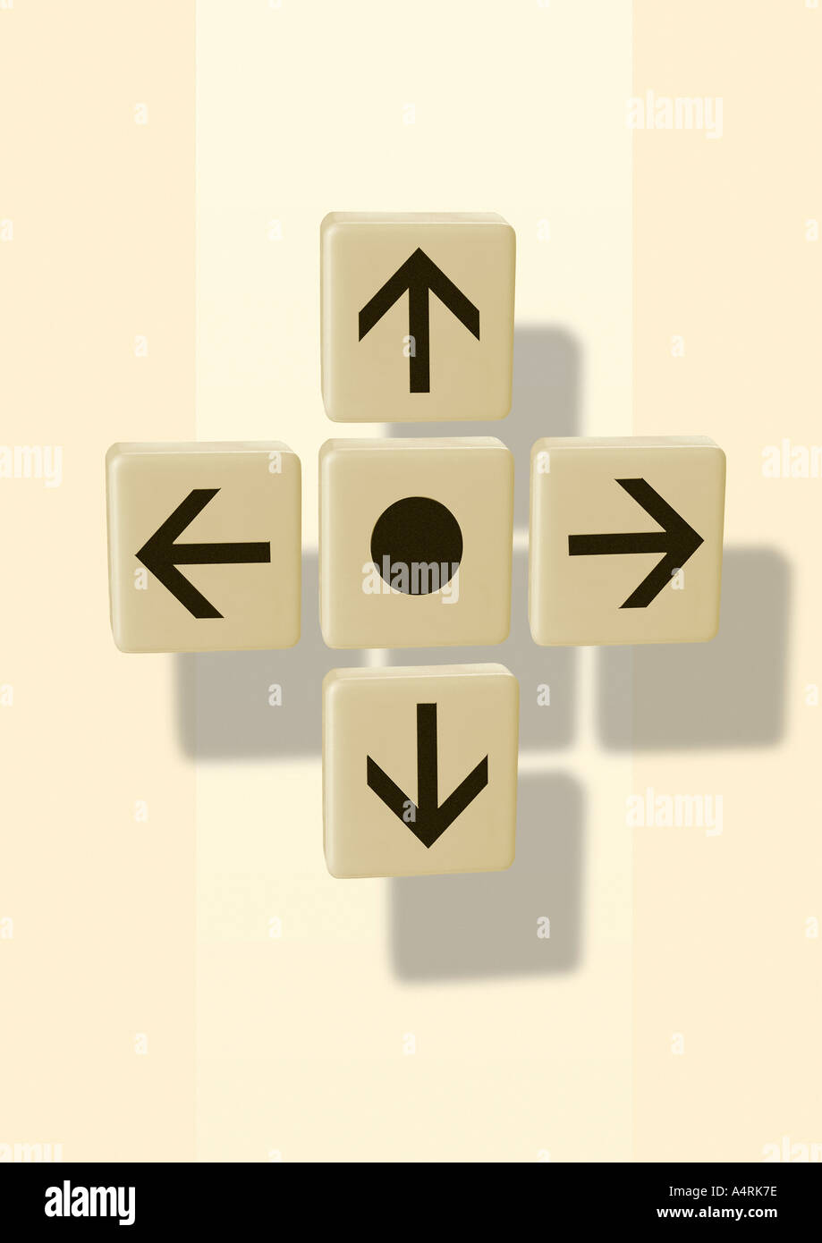 Arrows in 4 directions Pfeile in 4 Himmelsrichtungen Stock Photo