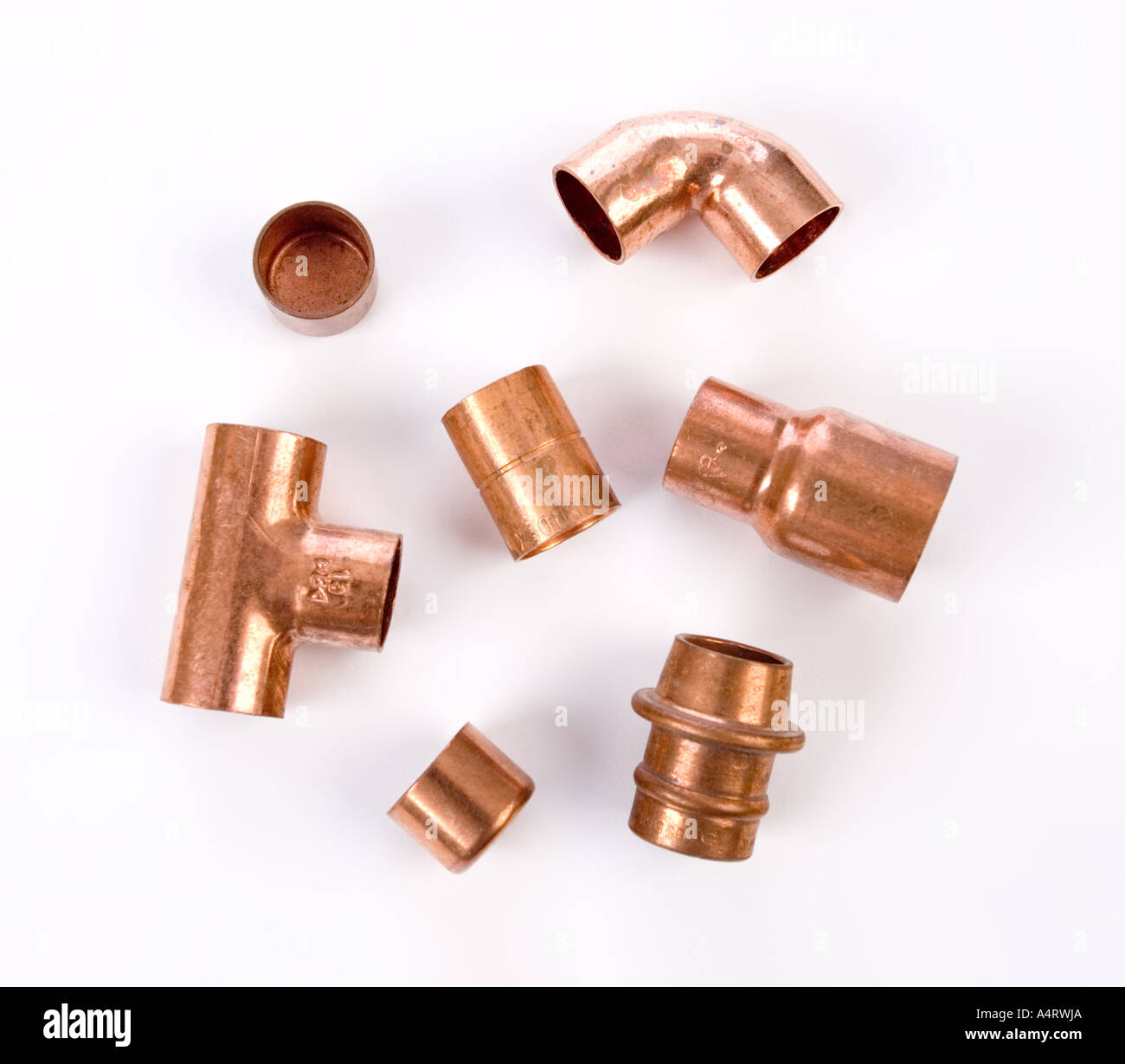 copper pipe fittings and joints - Stock Image