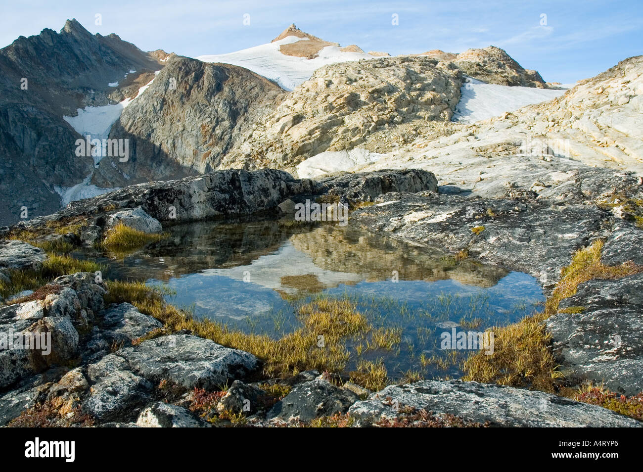 The peak of Sofias Fjeld (1012m), Angmagssalik Island, Sermilik Fjord, East Greenland - Stock Image