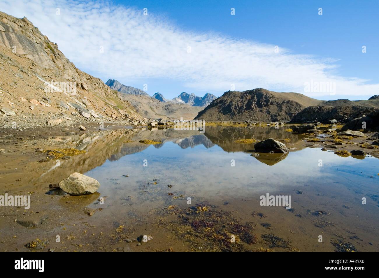 The Polhems Fjeld mountains, Angmagssalik Island, Sermilik Fjord, East Greenland - Stock Image