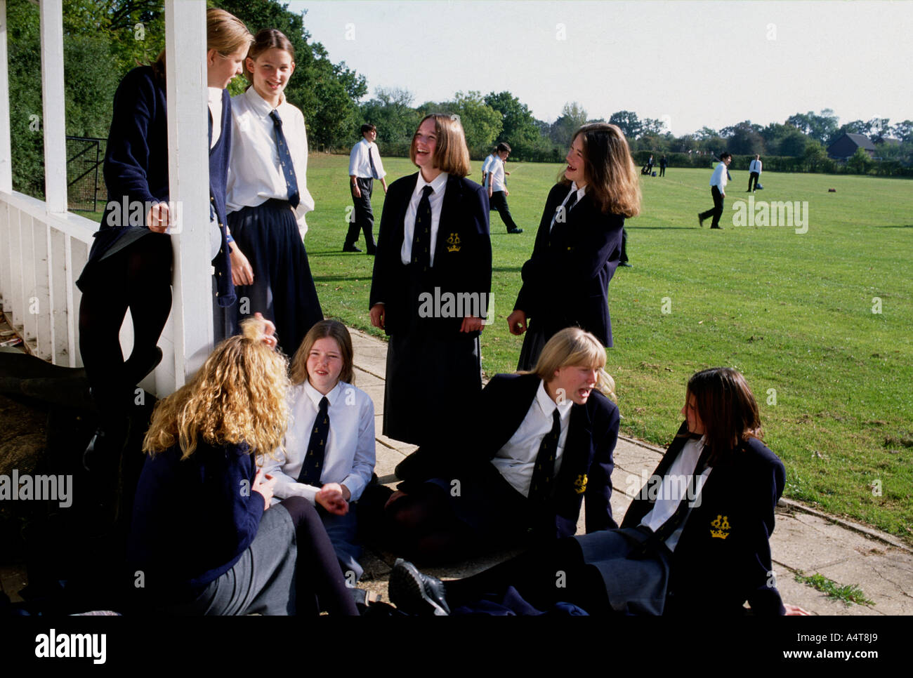 Female students at rural private secondary school - Stock Image