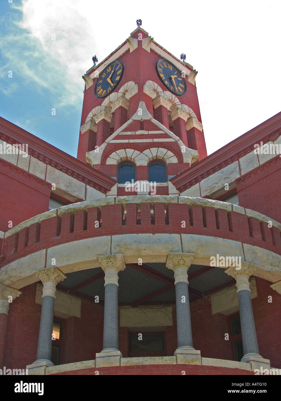 Clock Tower Balcony Lee County Courthouse Giddings Texas Detail view of Romanesque octagonal structure built in 1899 - Stock Image