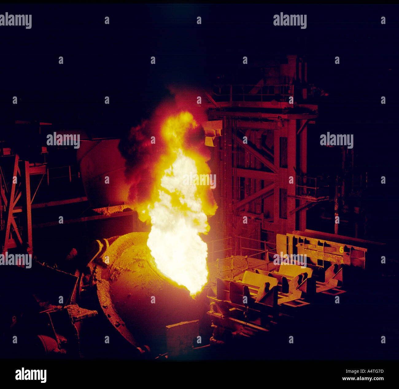 Steel furnace charging molten steel in AOD vessel during stainless steel refining at British Steel Stainless, Sheffield Stock Photo