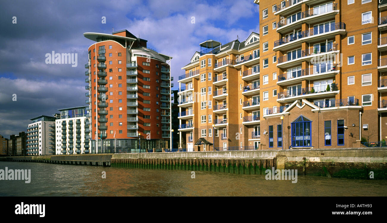 View of modern apartment buildings on the River Thames in the London ...